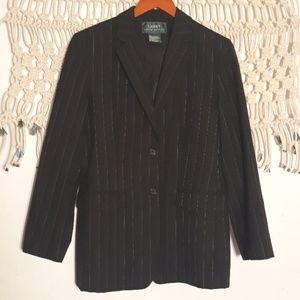Ralph Lauren black white pinstripe wool blazer